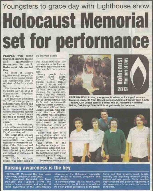 Holocaust Memorial Day 2013 Article